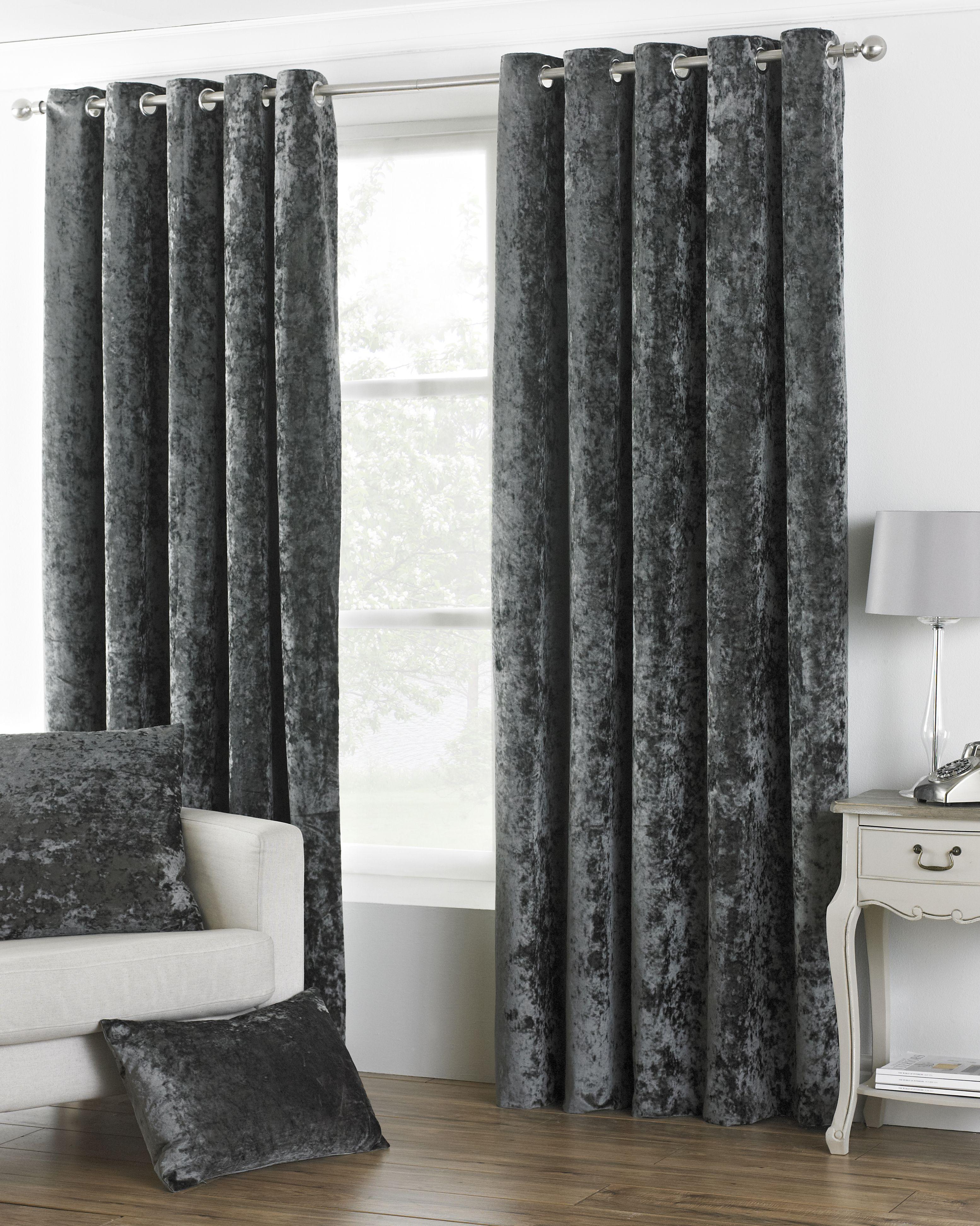 Verona Crushed Velvet Look Eyelet Curtains in Pewter