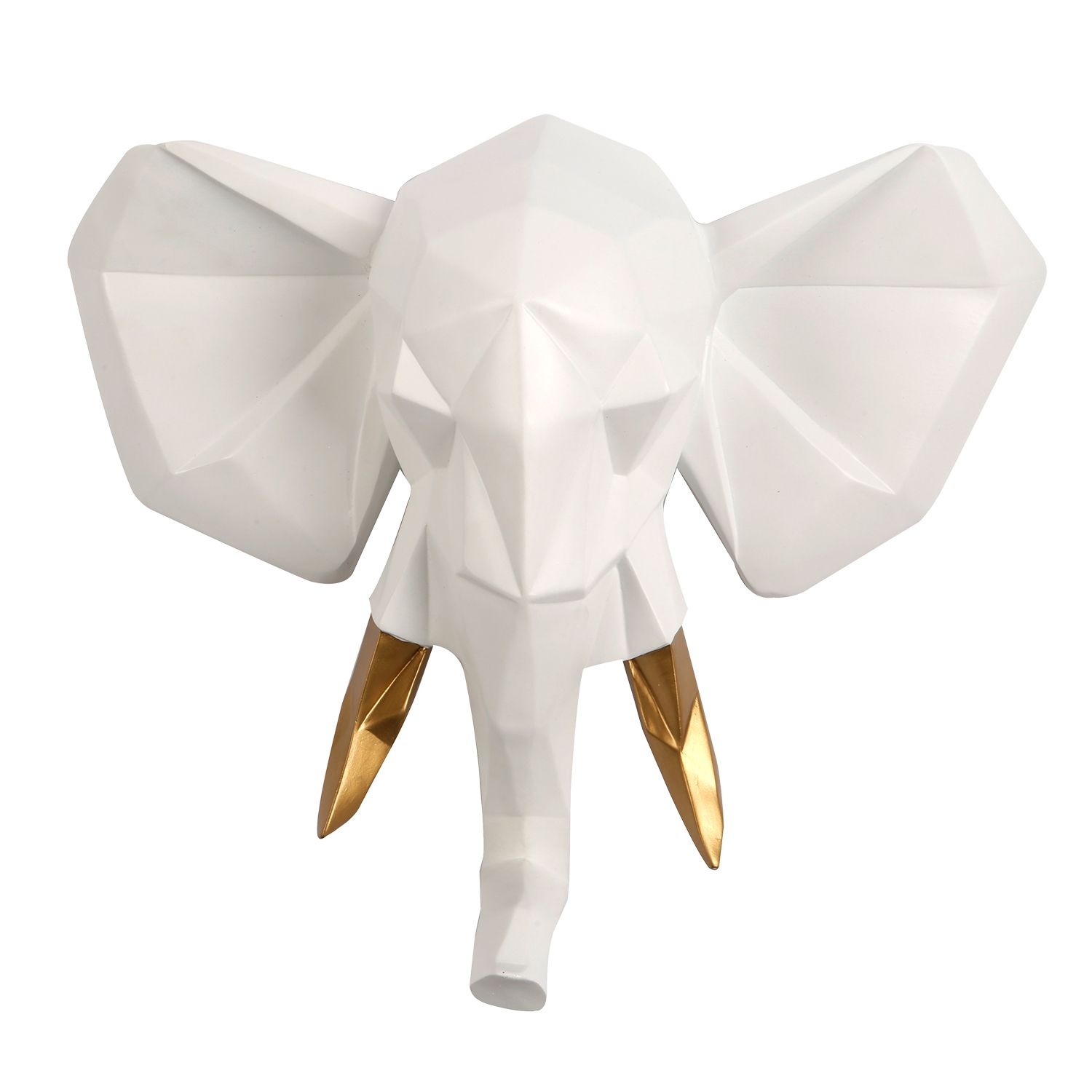 Contemporary Faux Taxidermy White Gold Geometric Elephant Wall Mount Sculpture Art Decorations Home Idea