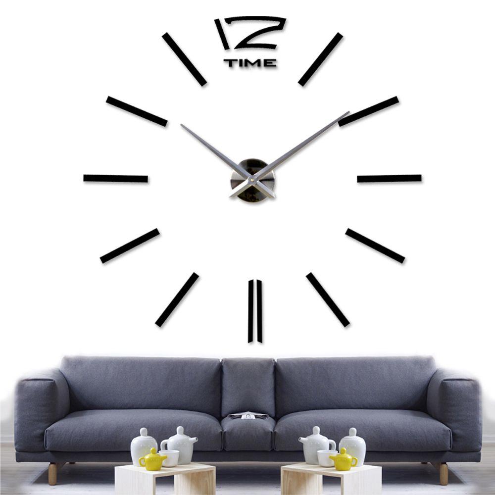 Walplus Wall Sticker Giant Black Clock with Clock Mechanism