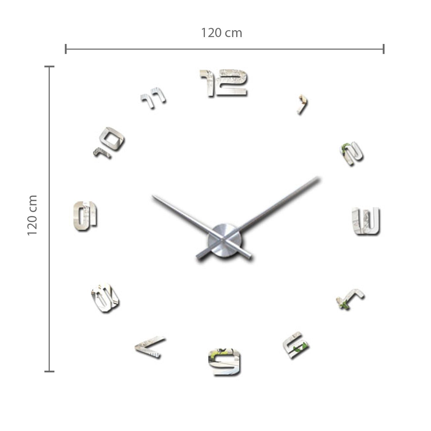 Luxury DIY Wall Clock Silver Acrylic with English Numbers