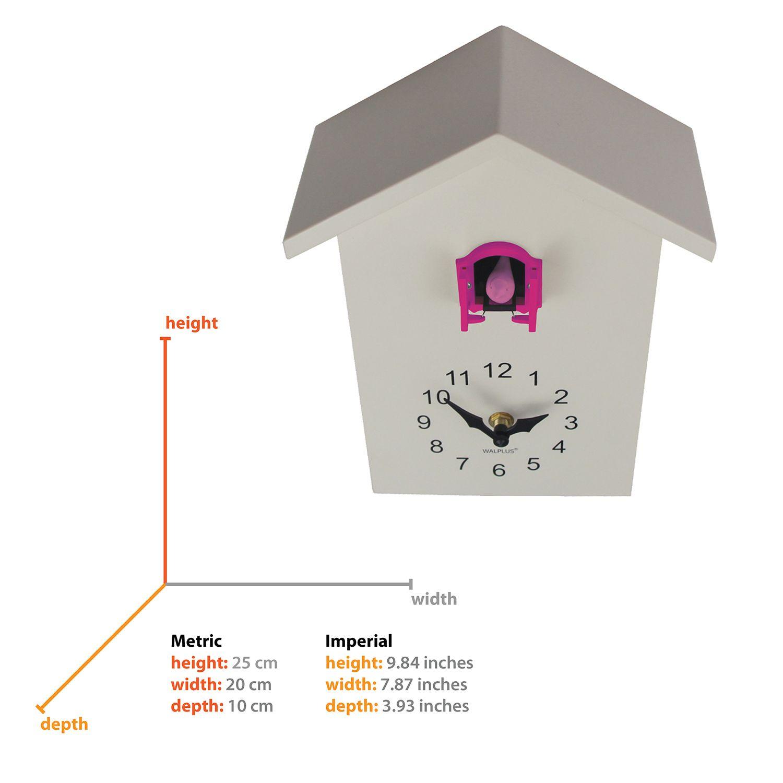 WC2090T - Walplus White Cuckoo Table Clock - Pink Window