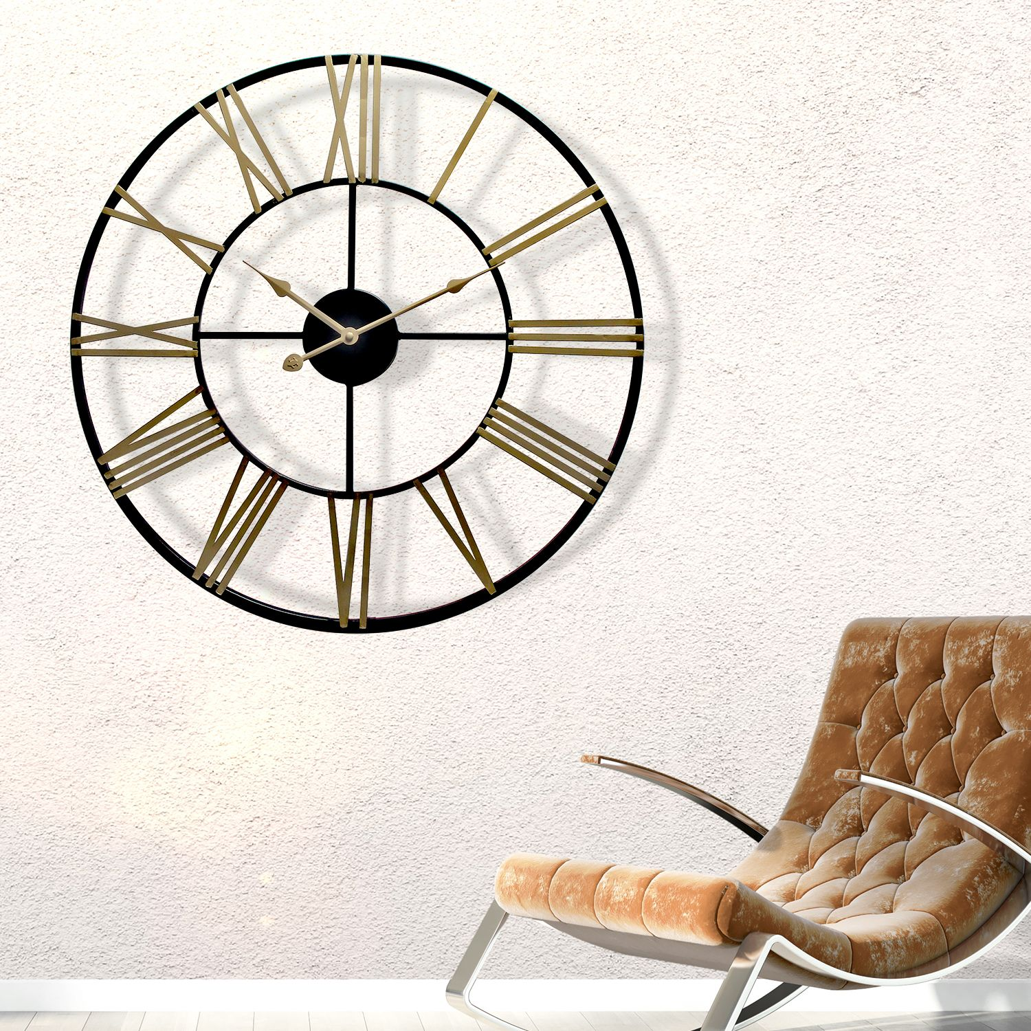 WC2129 - Rustic Industrial Slim Black and Gold Iron Wall Clock 73cm
