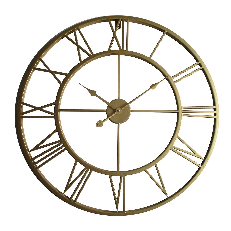 WC2131 - Walplus Gold Metal Large Iron 76cm Wall Clock