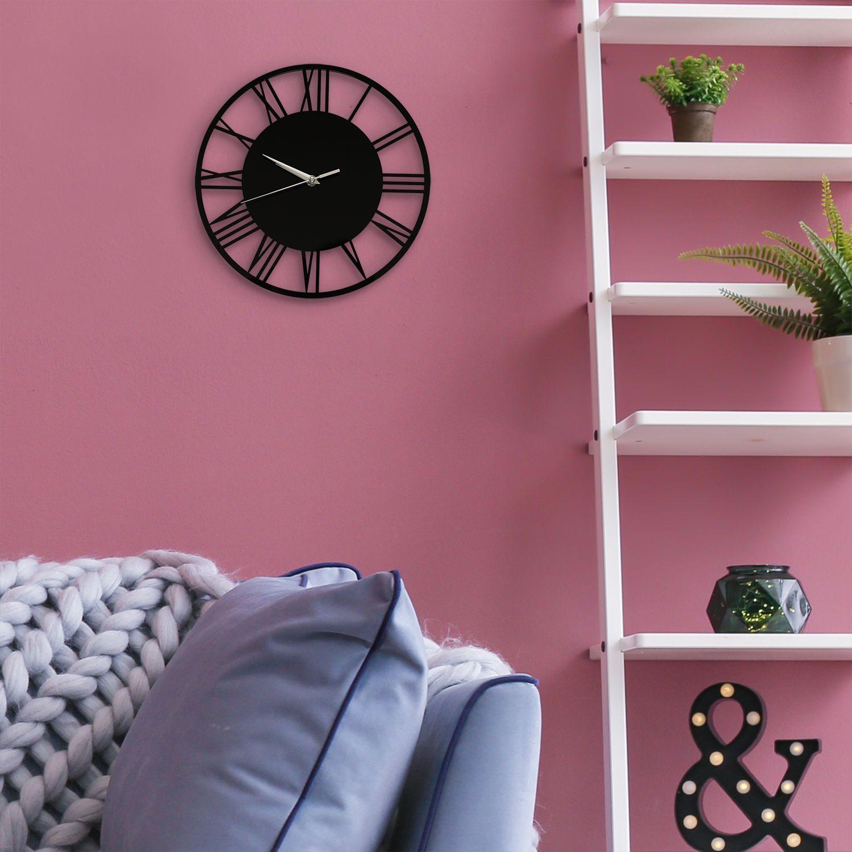 WC2134 - Acrylic Gloss Roman Wall Clock Black 30cm
