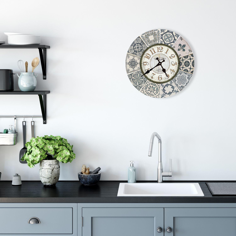 Vintage Blue Azulejo Wall Clock, DIY Art, Kitchen Decorations, Bedroom, Home Design, House Décor, Living room ideas