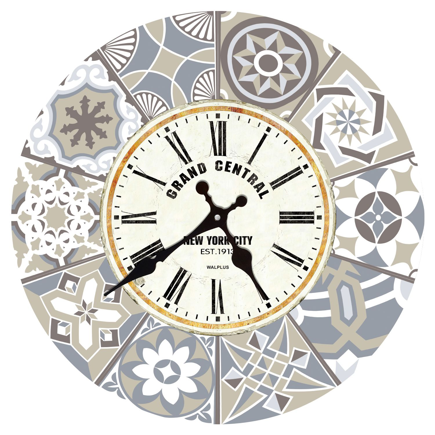 Limestone Spanish Tiles Wall Clock, DIY Art, Kitchen Decorations, Bedroom, Home Design, House Décor, Living room ideas