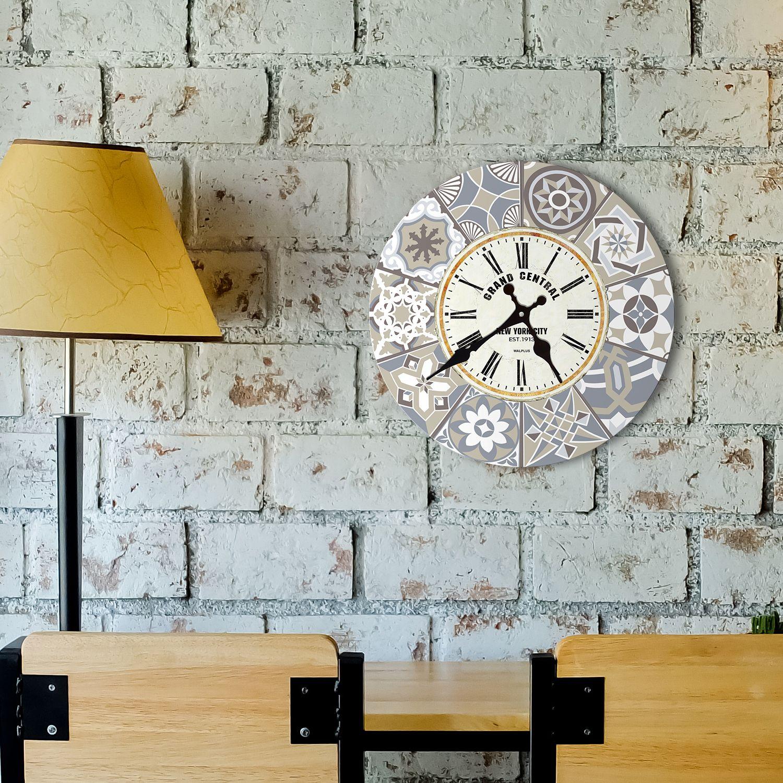Limestone Spanish Tiles Wall Clock, DIY Art, Kitchen Decorations, Bedroom, Home Design, House Décor, Living room ideas