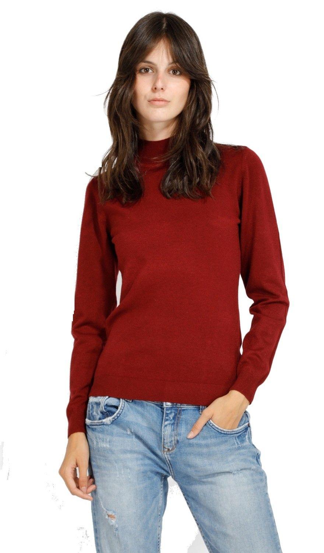 William De Faye Funnel Neck Long Sleeve Sweater in Maroon