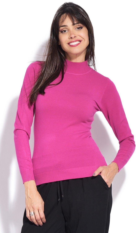 William De Faye Funnel Neck Long Sleeve Sweater in Fuschia