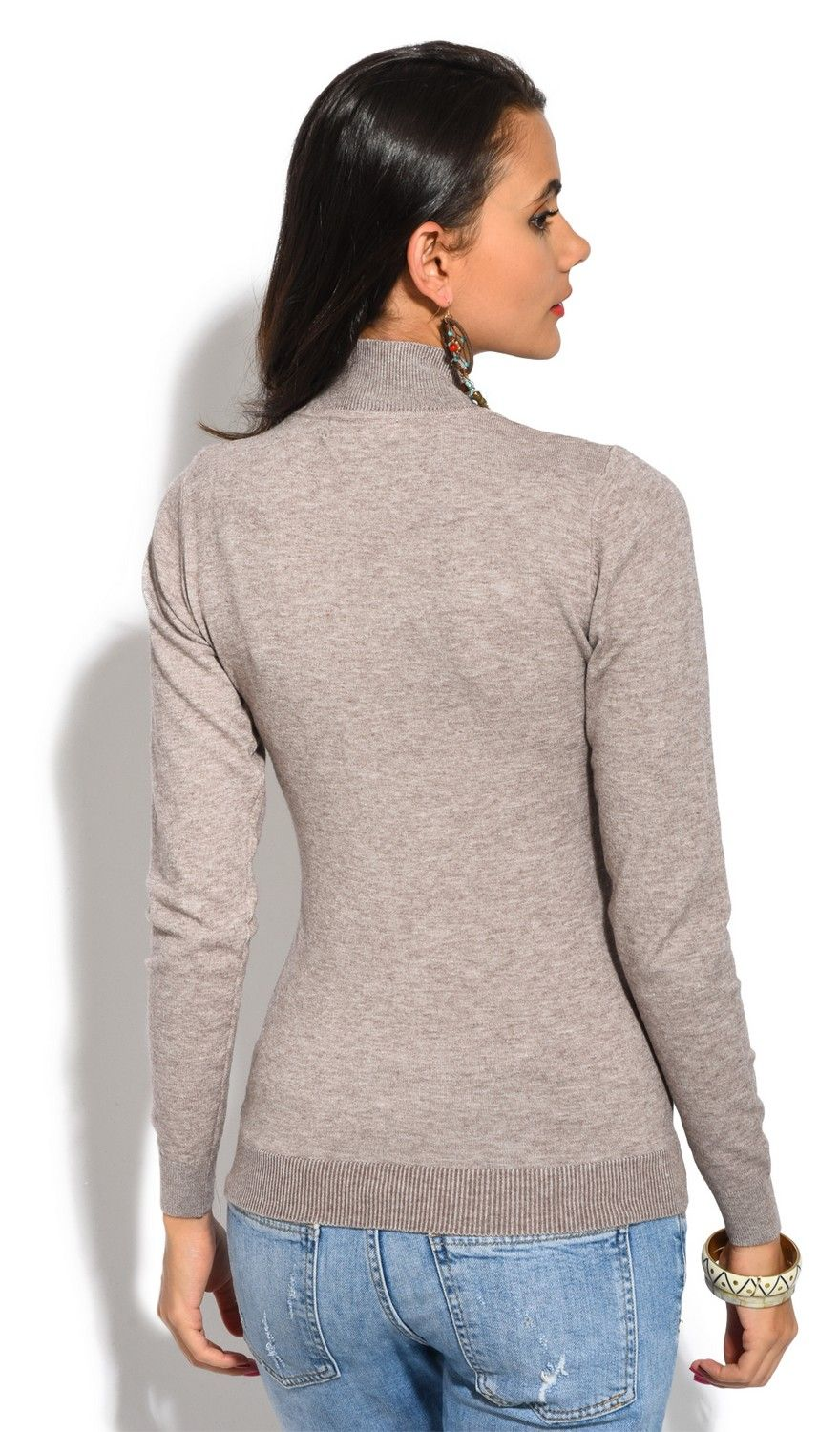William De Faye Funnel Neck Long Sleeve Sweater in Beige