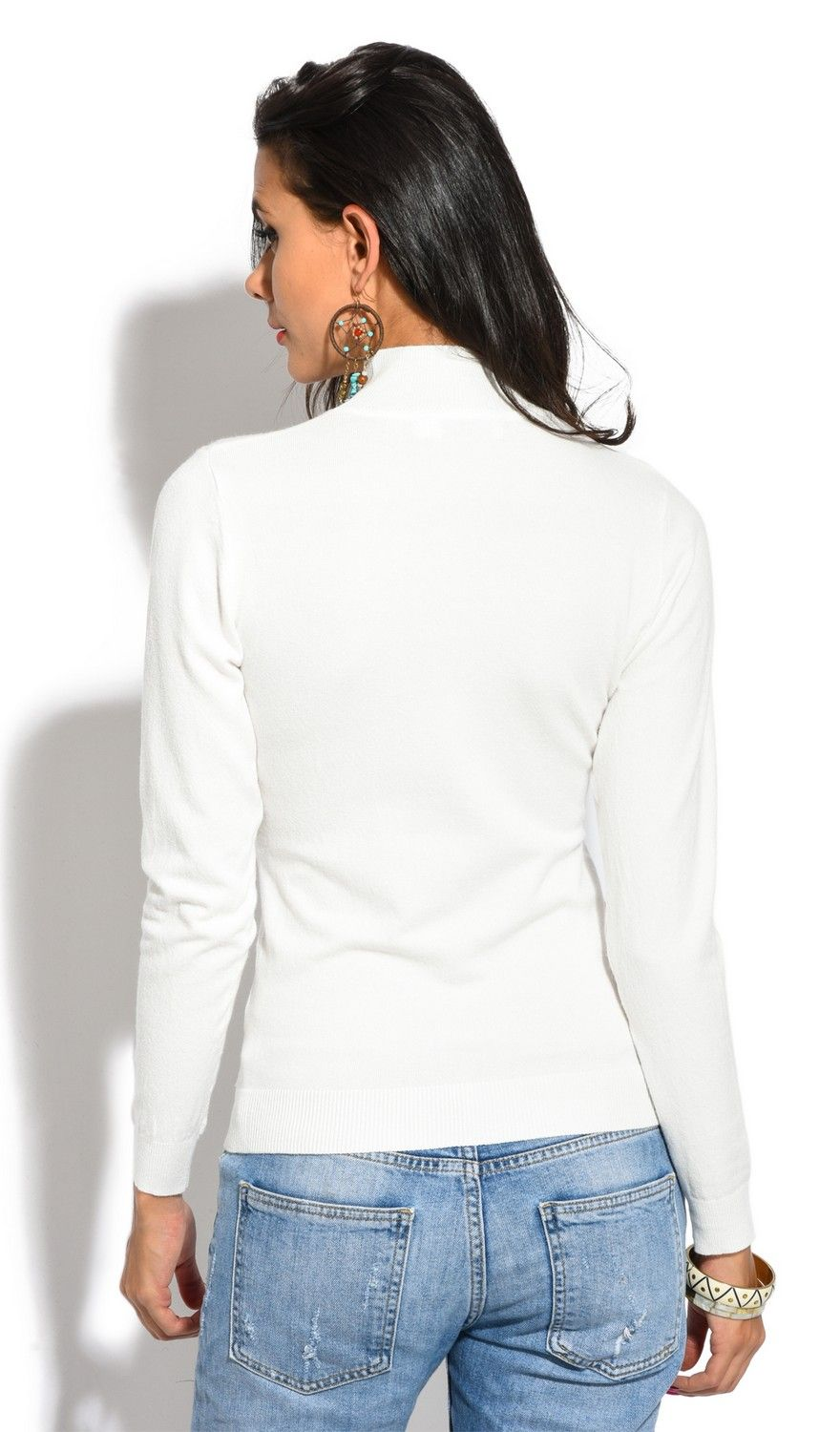 William De Faye Funnel Neck Long Sleeve Sweater in Ecru
