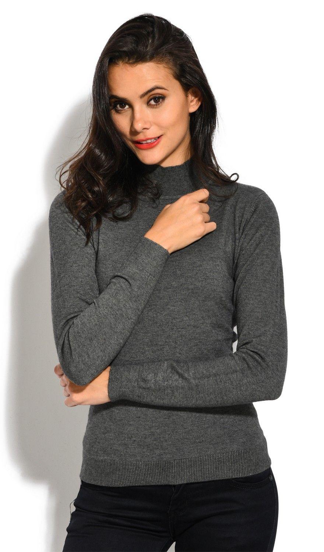 William De Faye Funnel Neck Long Sleeve Sweater in Grey