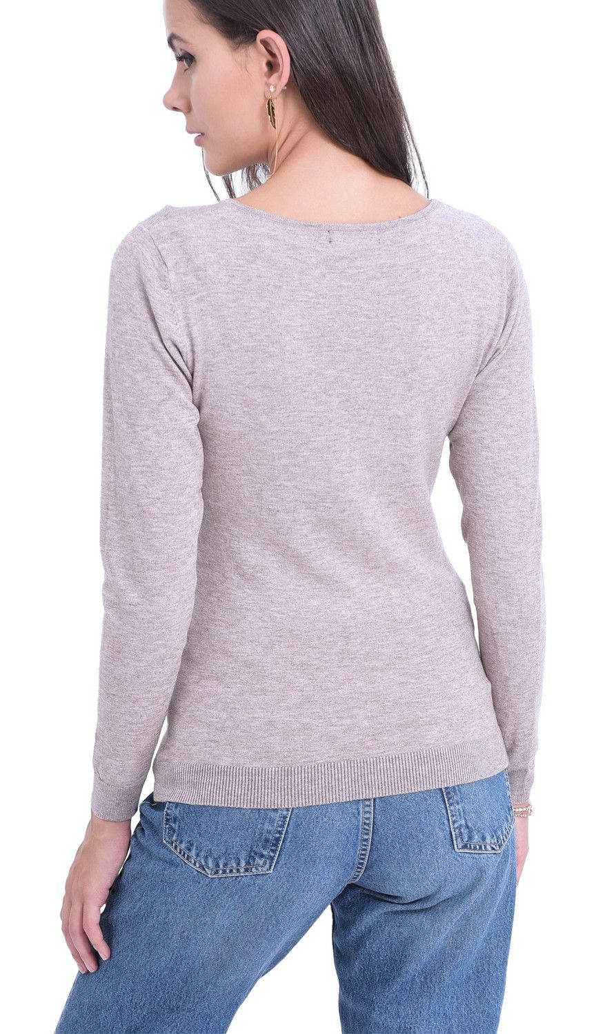 William De Faye V-Neck Long Sleeve Sweater in Beige