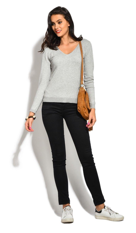 William De Faye V-Neck Long Sleeve Sweater in Light Grey