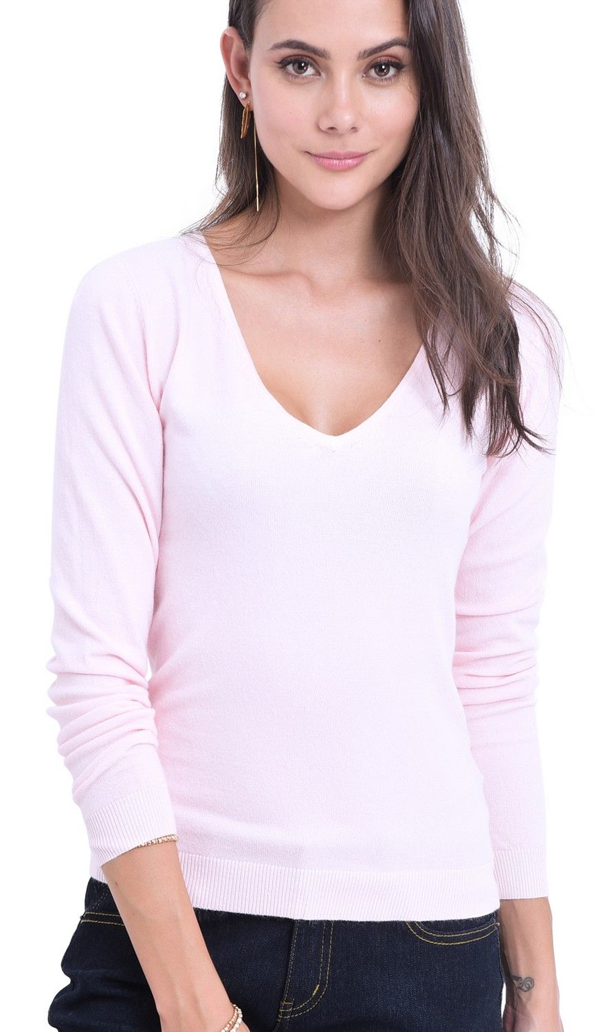 William De Faye V-Neck Long Sleeve Sweater in Pink