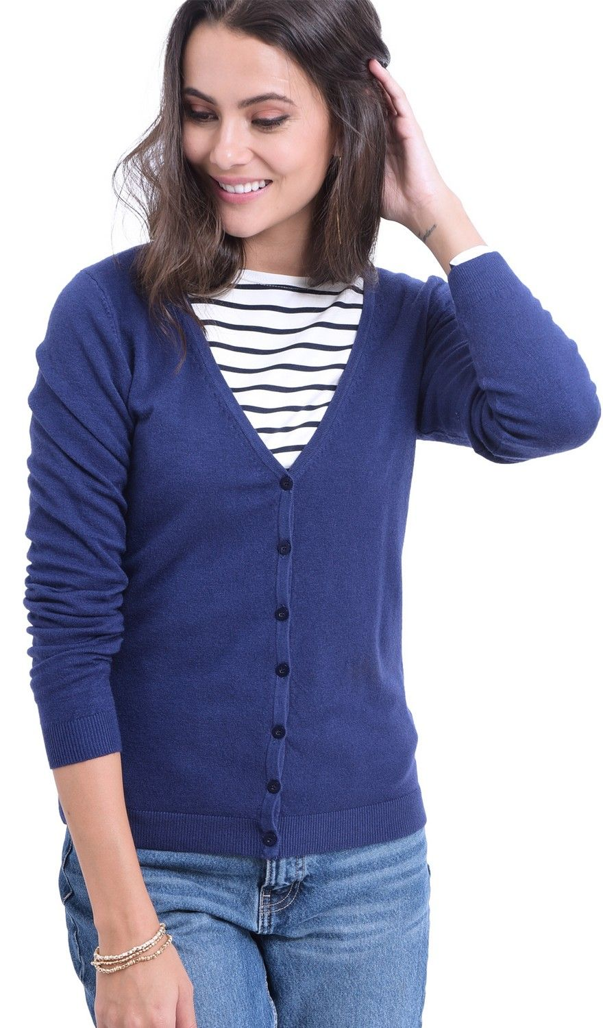 William De Faye V-Neck Long Sleeve Buttoned Cardigan in Navy