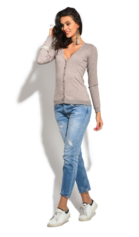 William De Faye V-Neck Long Sleeve Buttoned Cardigan in Beige