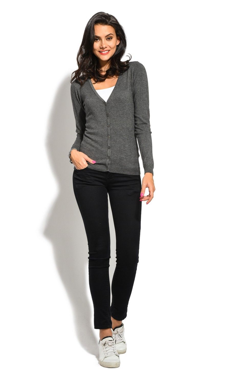William De Faye V-Neck Long Sleeve Buttoned Cardigan in Grey