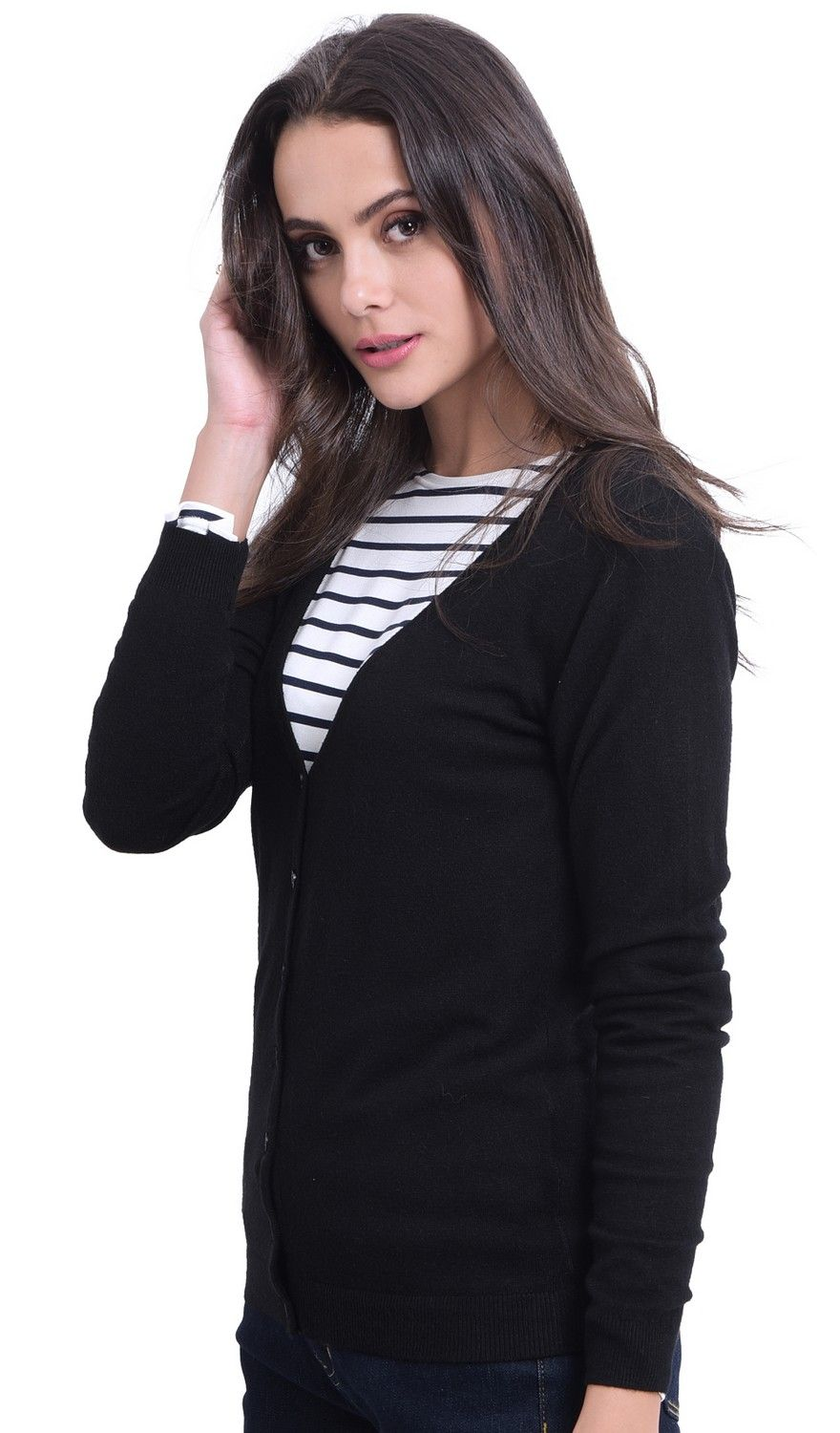 William De Faye V-Neck Long Sleeve Buttoned Cardigan in Black