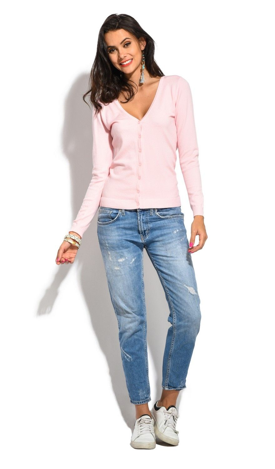 William De Faye V-Neck Long Sleeve Buttoned Cardigan in Pink