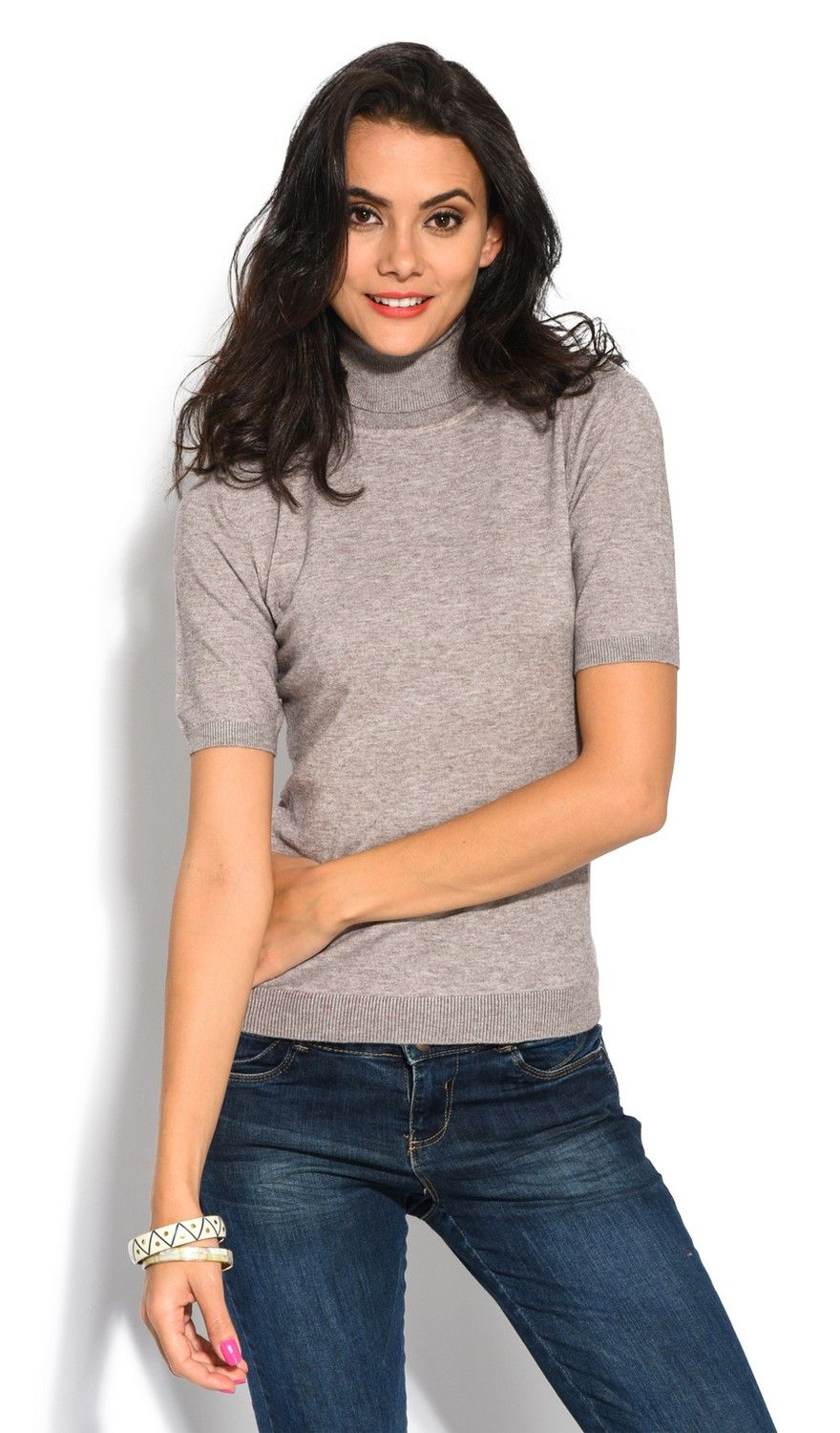 William De Faye Roll Neck Short Sleeve Sweater in Beige