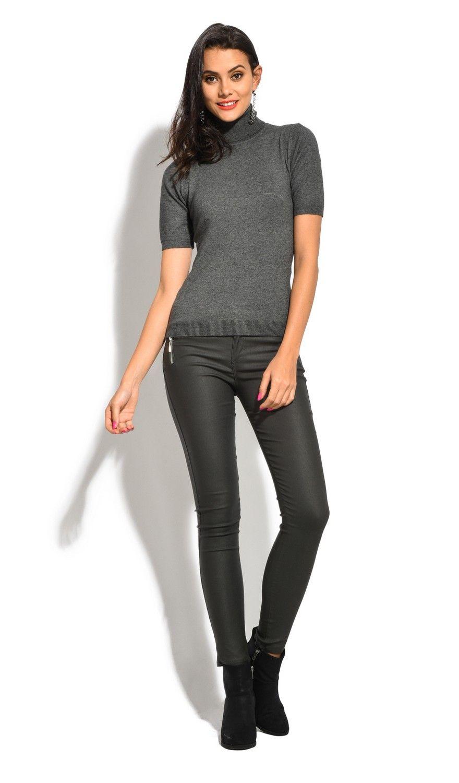 William De Faye Roll Neck Short Sleeve Sweater in Grey