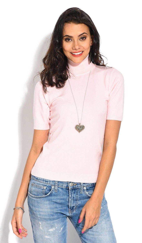 William De Faye Roll Neck Short Sleeve Sweater in Pink