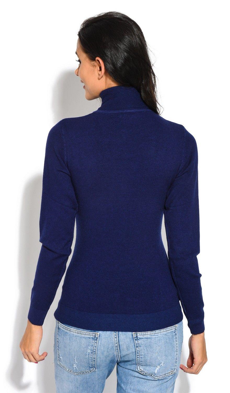 William De Faye Roll Neck Short Sleeve Sweater in Navy