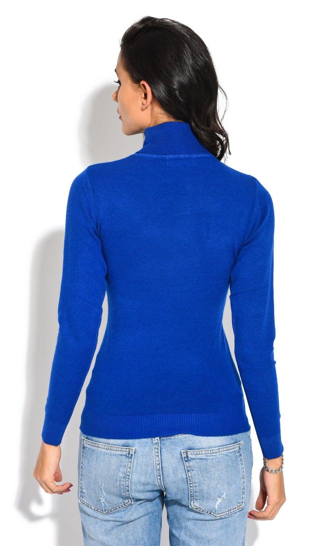 William De Faye Roll Neck Short Sleeve Sweater in Blue