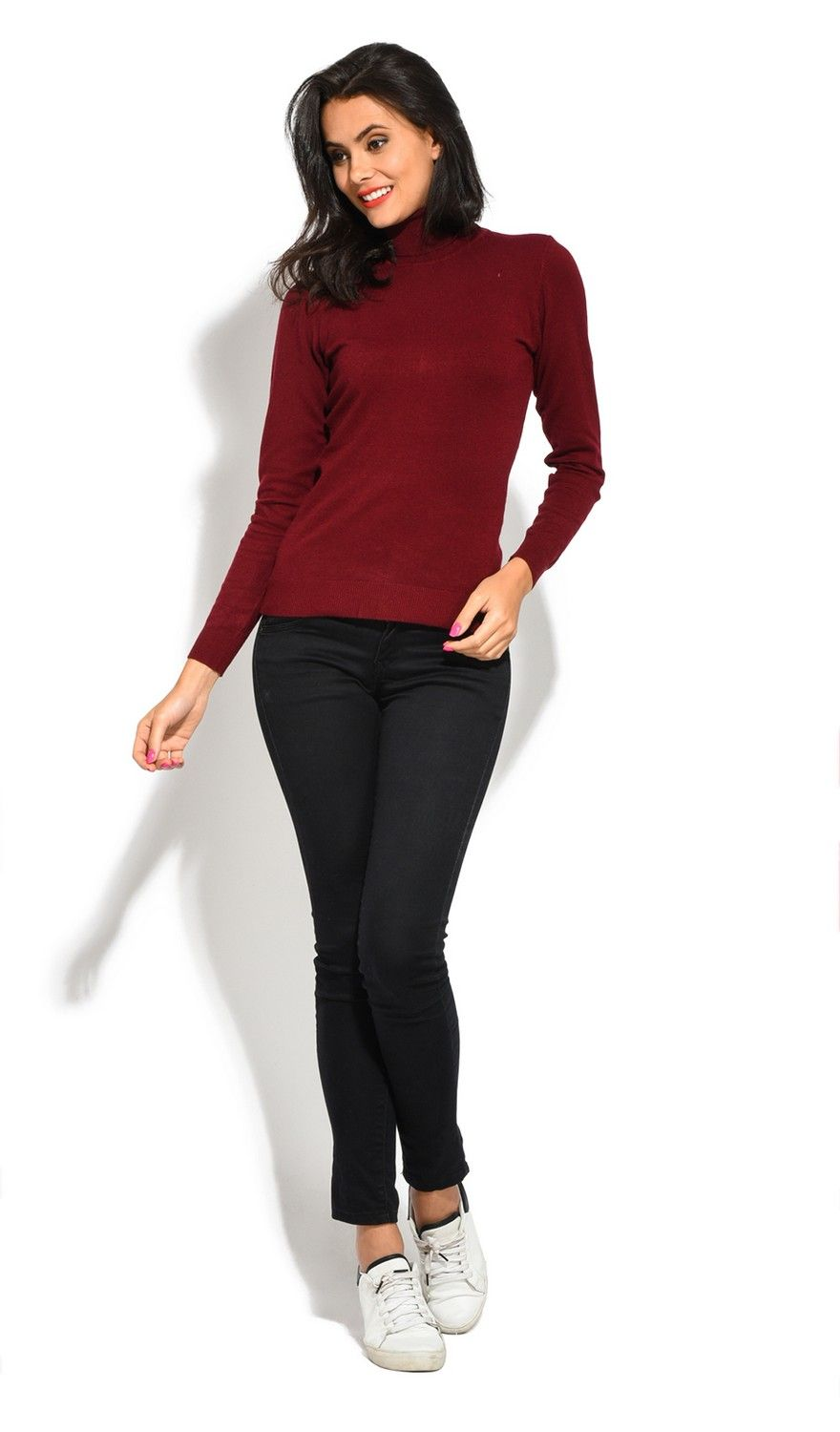William De Faye Roll Neck Short Sleeve Sweater in Maroon