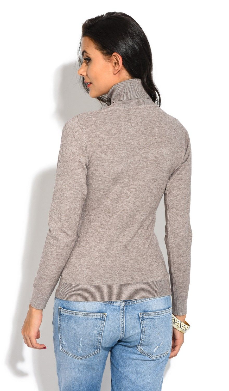William De Faye Roll Neck Short Sleeve Sweater in Beige
