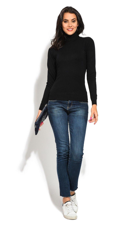 William De Faye Roll Neck Short Sleeve Sweater in Black