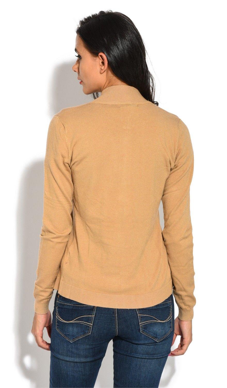 William De Faye Long Sleeve Zip Cardigan in Beige
