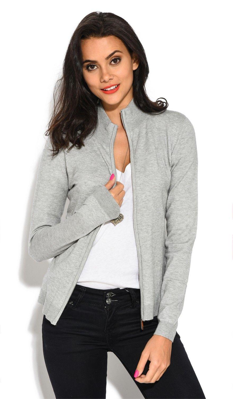 William De Faye Long Sleeve Zip Cardigan in Light Grey