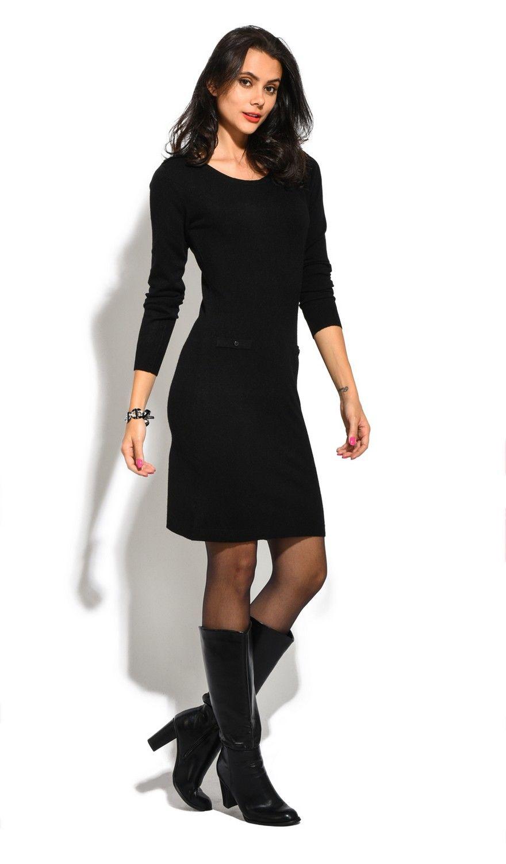 William De Faye Boat Neck Buttoned Shoulder Dress in Black