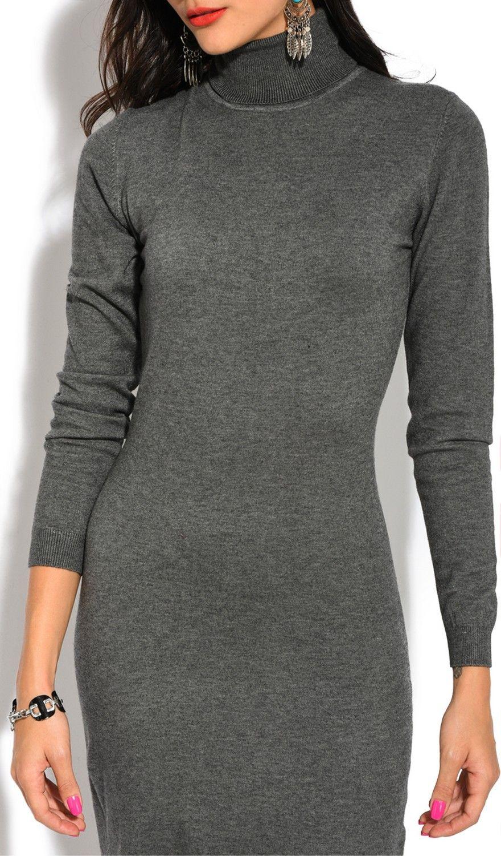William De Faye Roll Neck Long Sleeve Dress in Grey