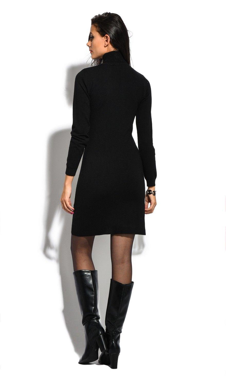 William De Faye Roll Neck Long Sleeve Dress in Black