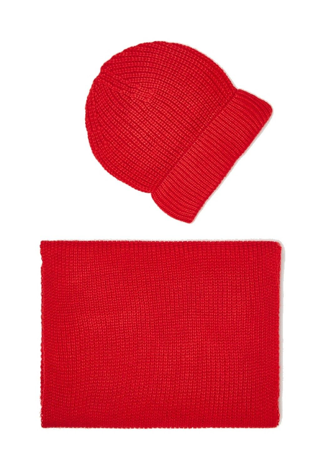 William De Faye 4 Yarn 200x30cm Scarf & Beanie in Red