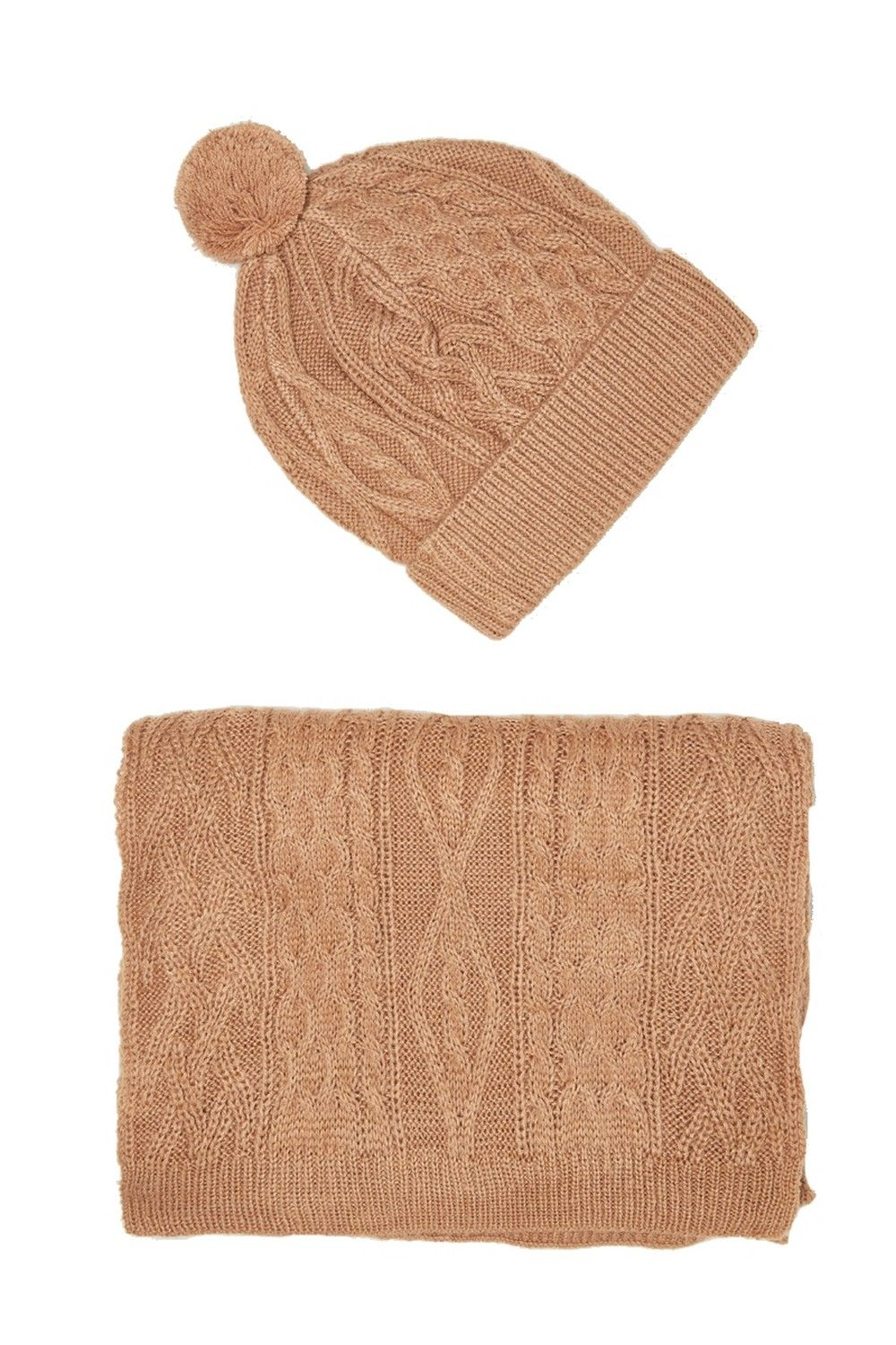 William De Faye Twisted 4 Yarn 200x30cm Scarf & Beanie in Beige