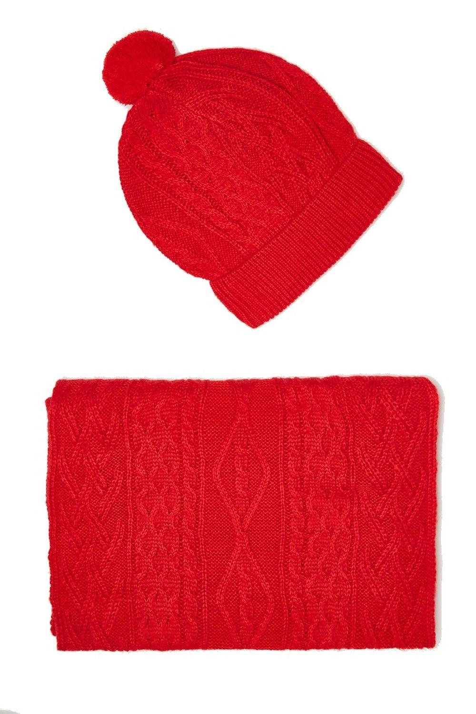 William De Faye Twisted 4 Yarn 200x30cm Scarf & Beanie in Red