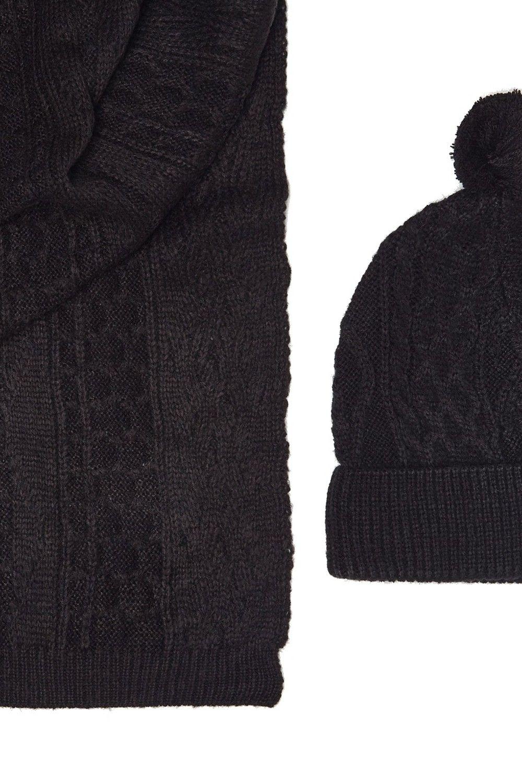 William De Faye Twisted 4 Yarn 200x30cm Scarf & Beanie in Black