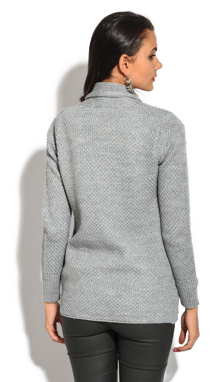 William De Faye Pineapple Yarn Cardigan with Pockets in Grey