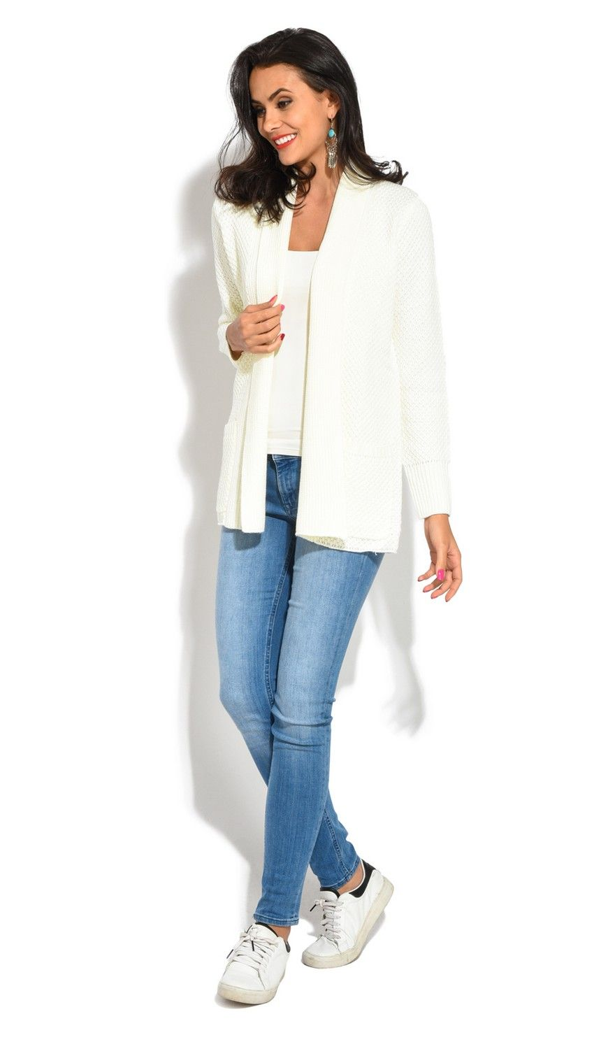 William De Faye Pineapple Yarn Cardigan with Pockets in Natural