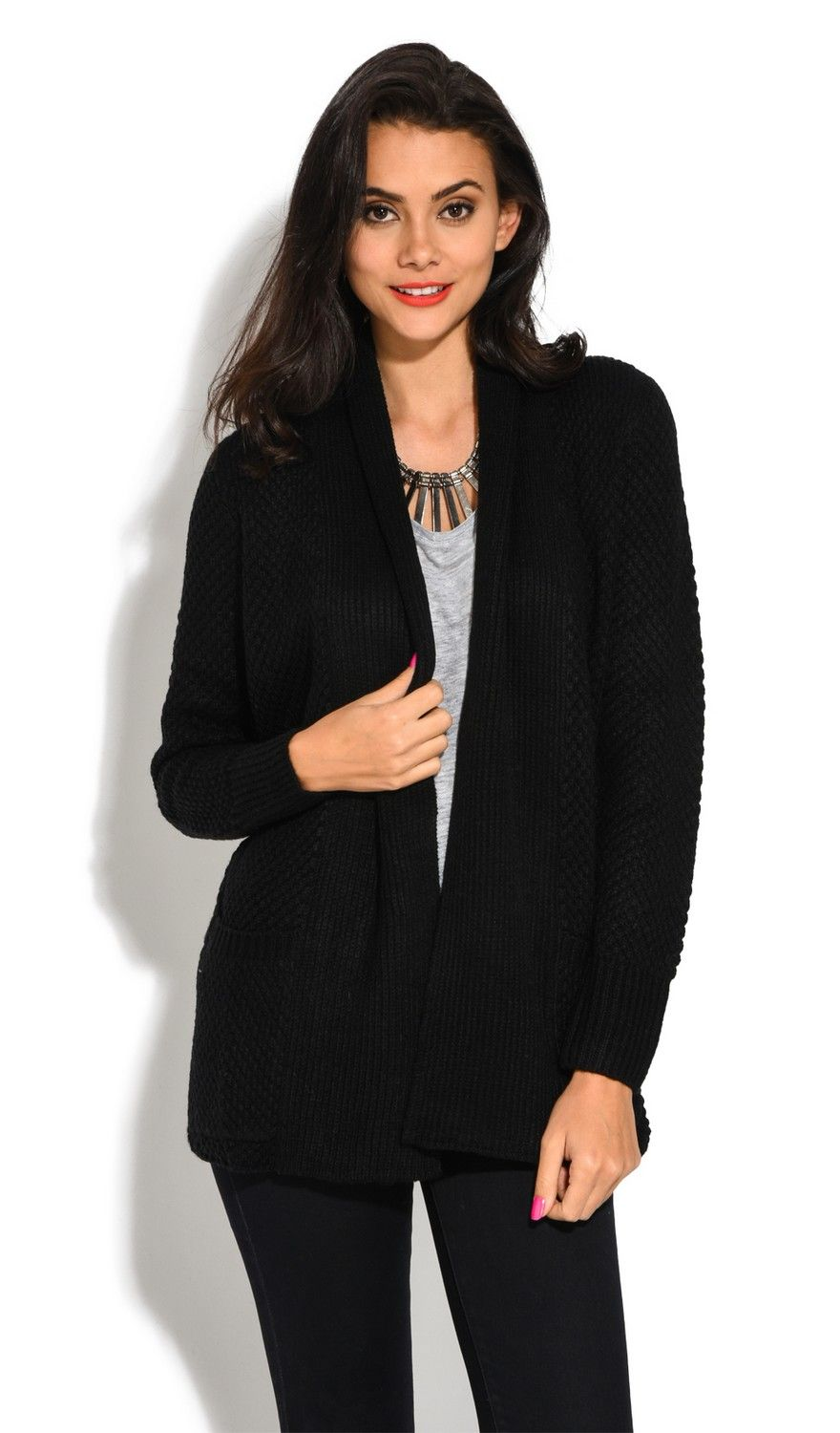 William De Faye Pineapple Yarn Cardigan with Pockets in Black