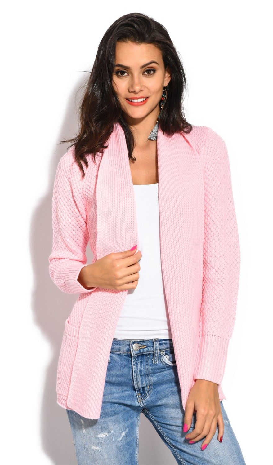 William De Faye Pineapple Yarn Cardigan with Pockets in Pink