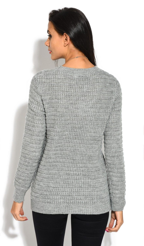 William De Faye Long Sleeve Twisted yarn Sweater in Grey