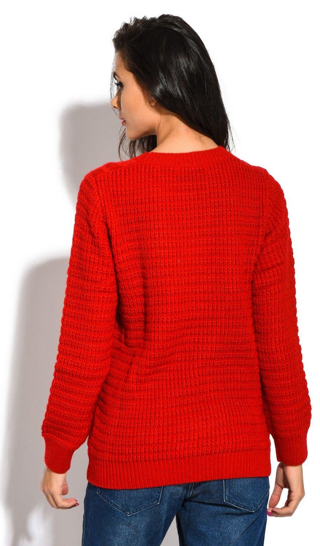 William De Faye Long Sleeve Twisted yarn Sweater in Red