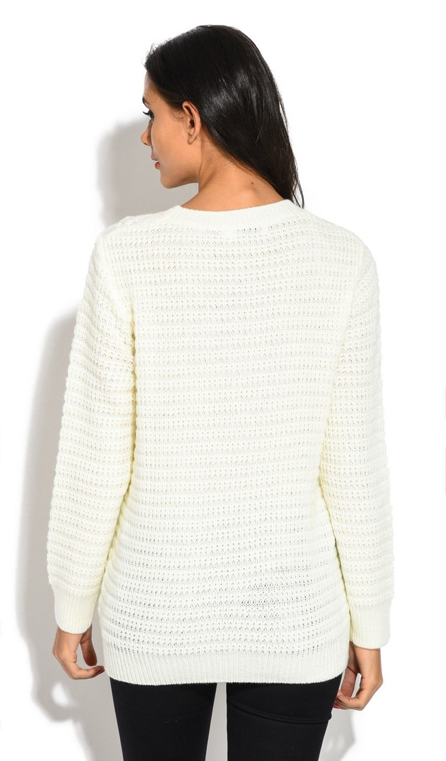 William De Faye Long Sleeve Twisted yarn Sweater in Natural