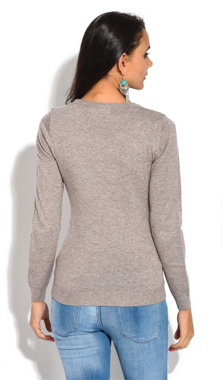 William De Faye Round Neck Buttoned Shoulder Sweater in Beige