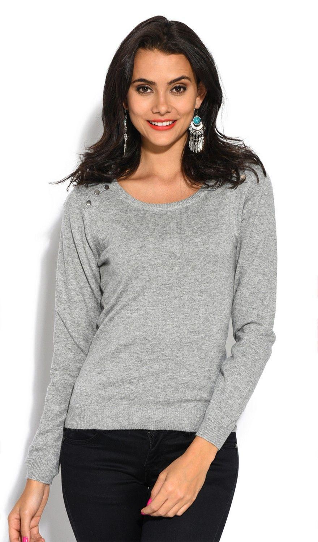William De Faye Round Neck Buttoned Shoulder Sweater in Light Grey